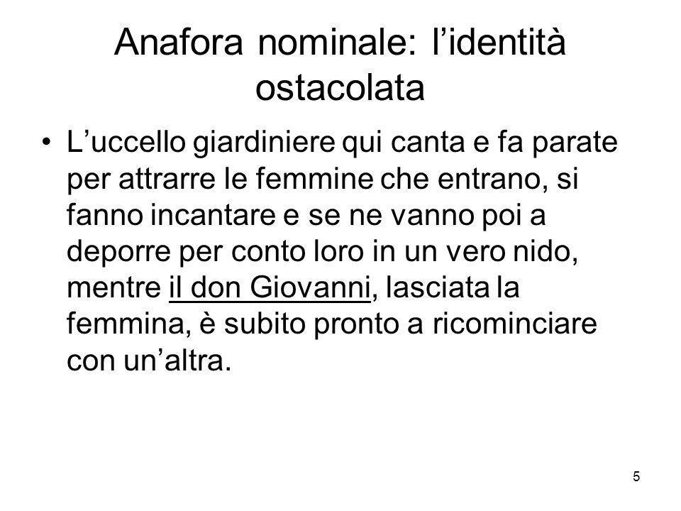 Anafora nominale: l'identità ostacolata