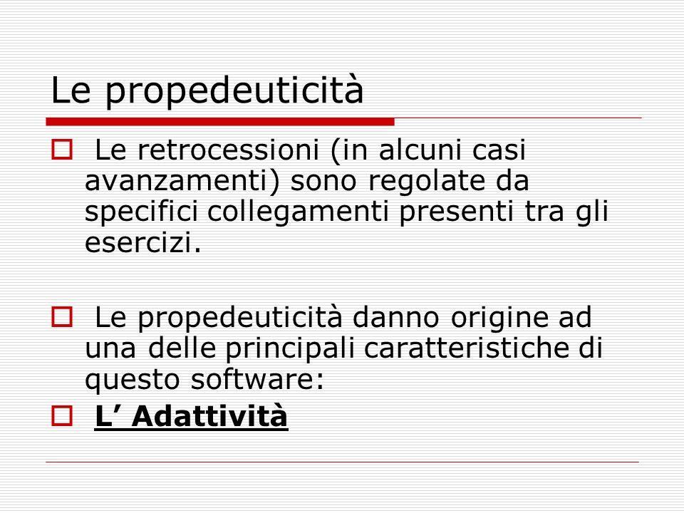 Le propedeuticità Le retrocessioni (in alcuni casi avanzamenti) sono regolate da specifici collegamenti presenti tra gli esercizi.