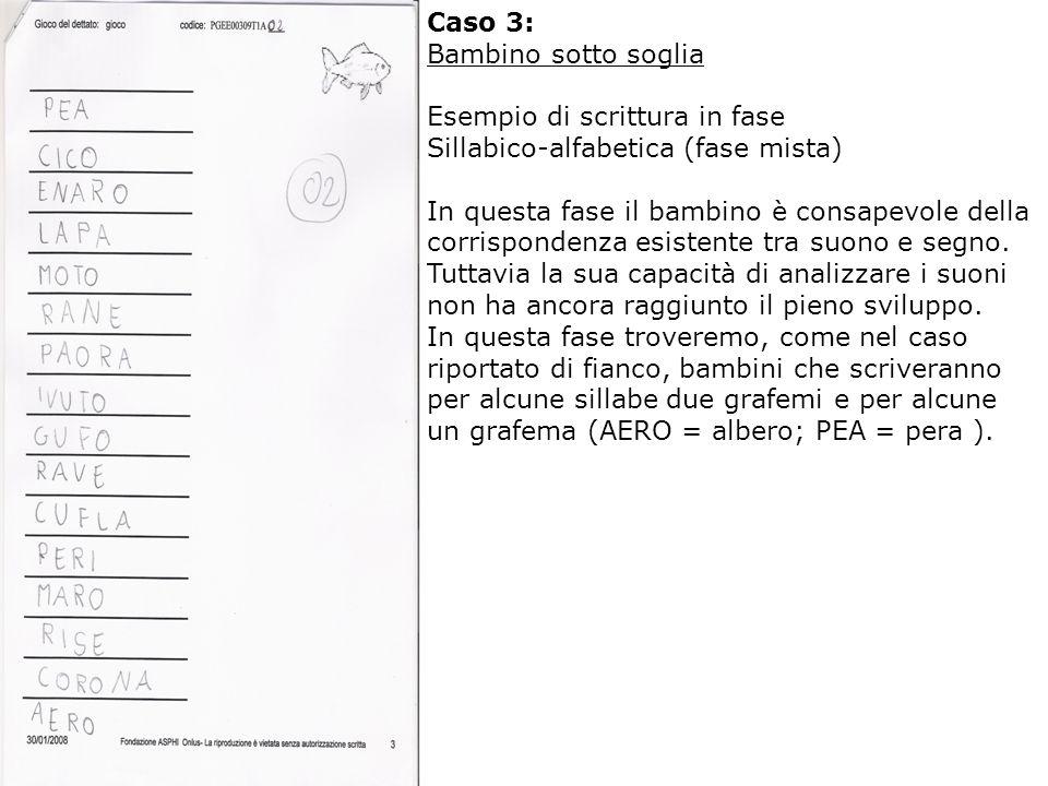 Caso 3: Bambino sotto soglia. Esempio di scrittura in fase. Sillabico-alfabetica (fase mista)