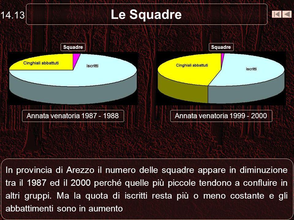 14.13 Le Squadre. Squadre. Squadre. Annata venatoria 1987 - 1988. Annata venatoria 1999 - 2000.