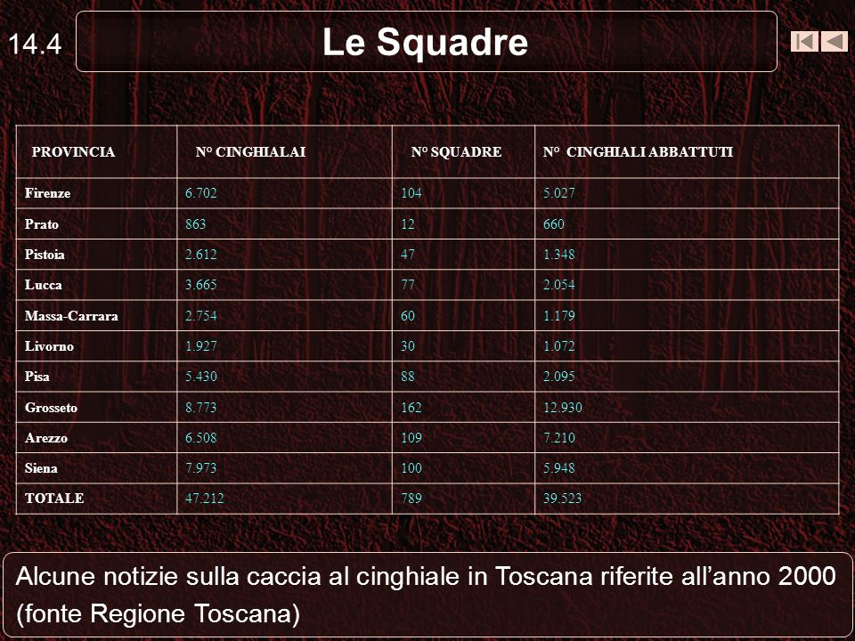 14.4 Le Squadre. PROVINCIA. N° CINGHIALAI. N° SQUADRE. N° CINGHIALI ABBATTUTI. Firenze. 6.702.
