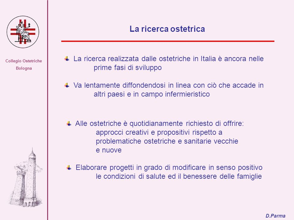 Collegio Ostetriche Bologna. La ricerca ostetrica. La ricerca realizzata dalle ostetriche in Italia è ancora nelle prime fasi di sviluppo.