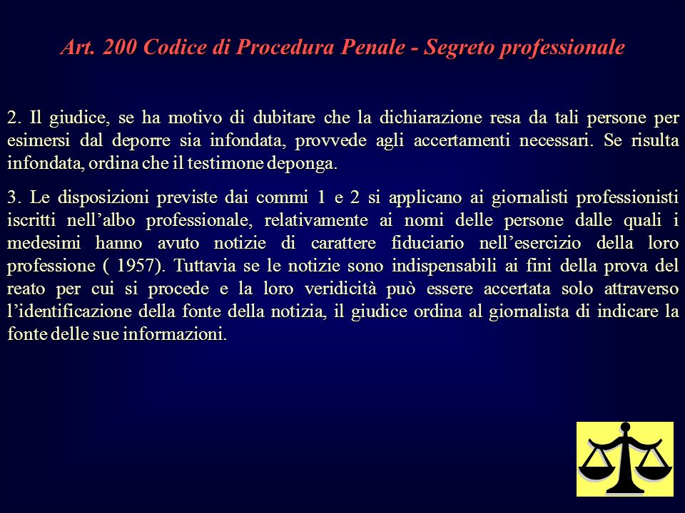 Art. 200 Codice di Procedura Penale - Segreto professionale