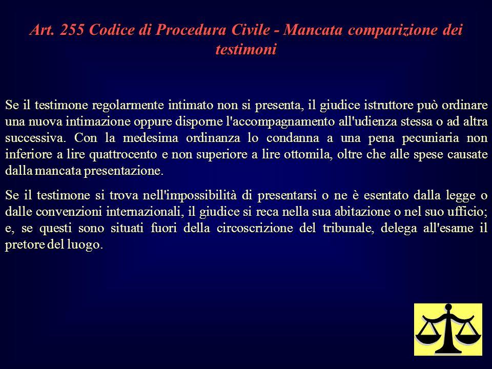 Art. 255 Codice di Procedura Civile - Mancata comparizione dei testimoni