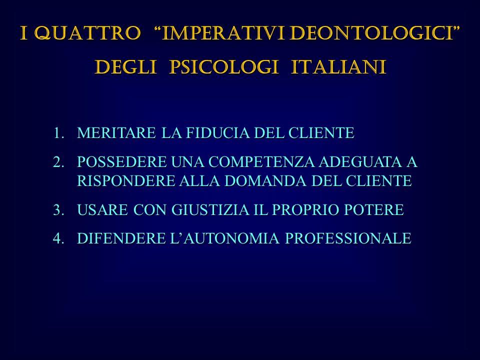 I QUATTRO IMPERATIVI DEONTOLOGICI DEGLI PSICOLOGI ITALIANI