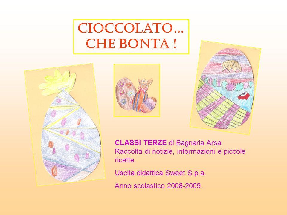 Cioccolato… che bonta ! CLASSI TERZE di Bagnaria Arsa Raccolta di notizie, informazioni e piccole ricette.