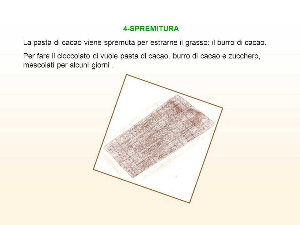 4-SPREMITURA La pasta di cacao viene spremuta per estrarne il grasso: il burro di cacao.