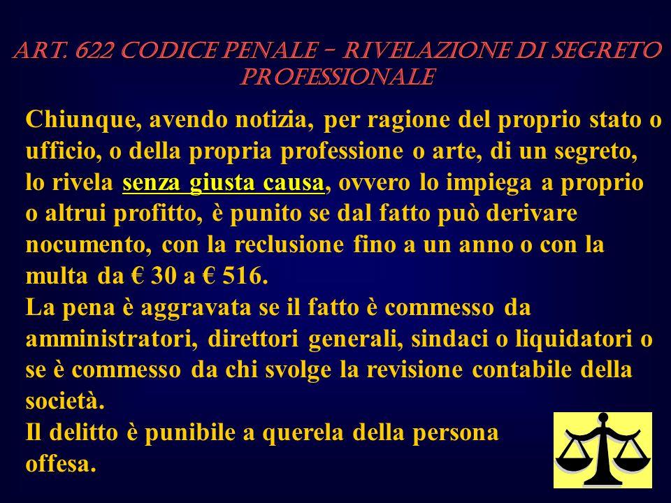 Art. 622 Codice Penale - Rivelazione di segreto professionale