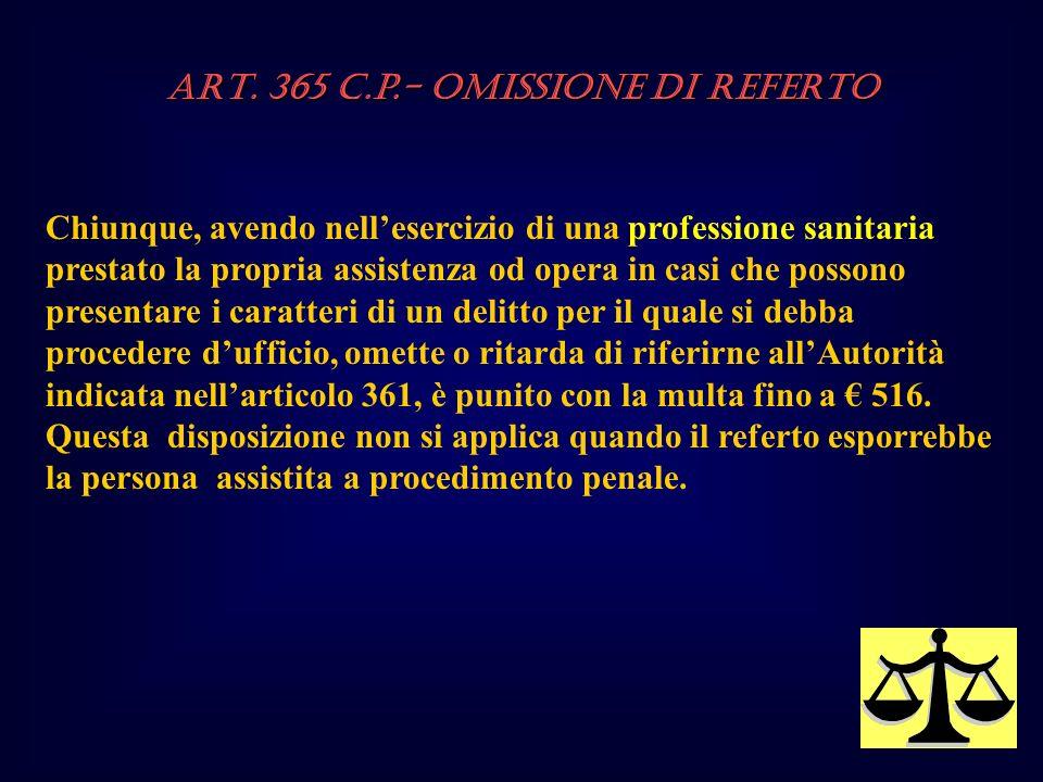 ART. 365 c.p.- OMISSIONE DI REFERTO