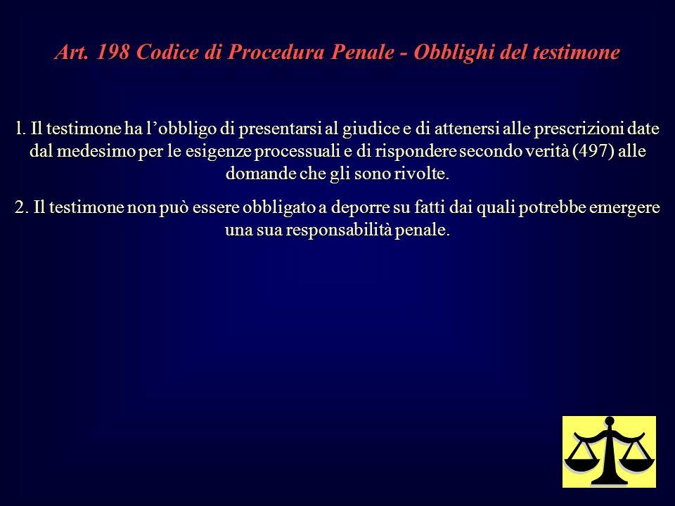Art. 198 Codice di Procedura Penale - Obblighi del testimone