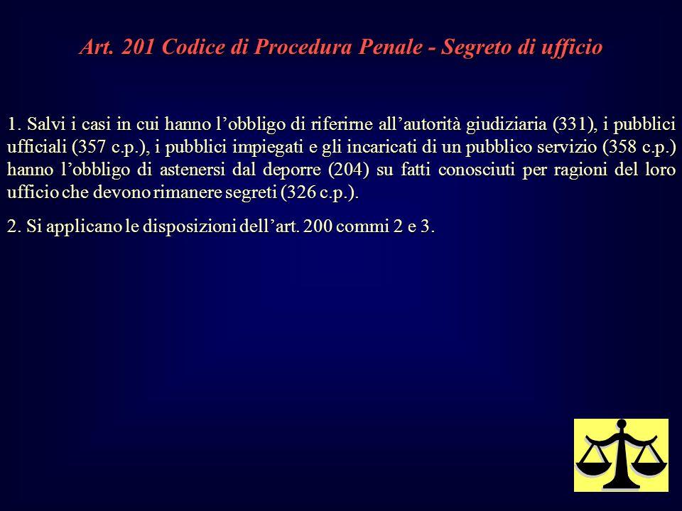 Art. 201 Codice di Procedura Penale - Segreto di ufficio