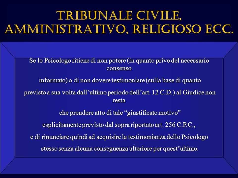 TRIBUNALE CIVILE, AMMINISTRATIVO, RELIGIOSO ECC.
