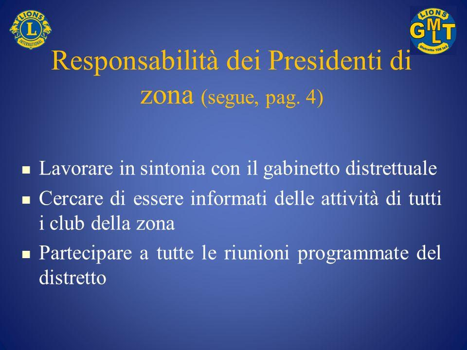 Responsabilità dei Presidenti di zona (segue, pag. 4)