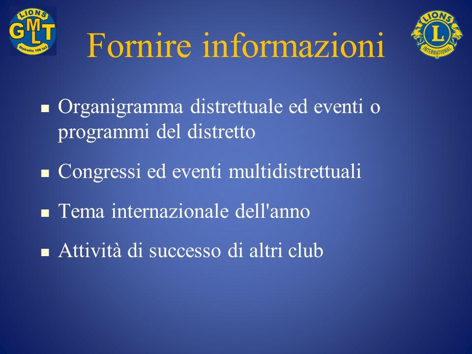 Fornire informazioni Organigramma distrettuale ed eventi o programmi del distretto. Congressi ed eventi multidistrettuali.