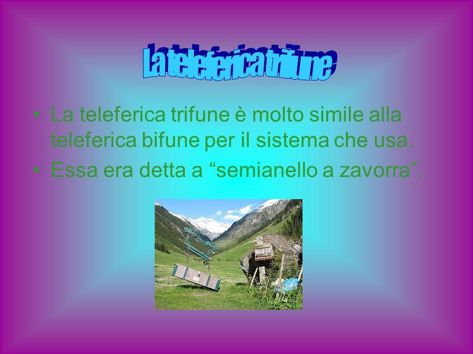 La teleferica trifune La teleferica trifune è molto simile alla teleferica bifune per il sistema che usa.