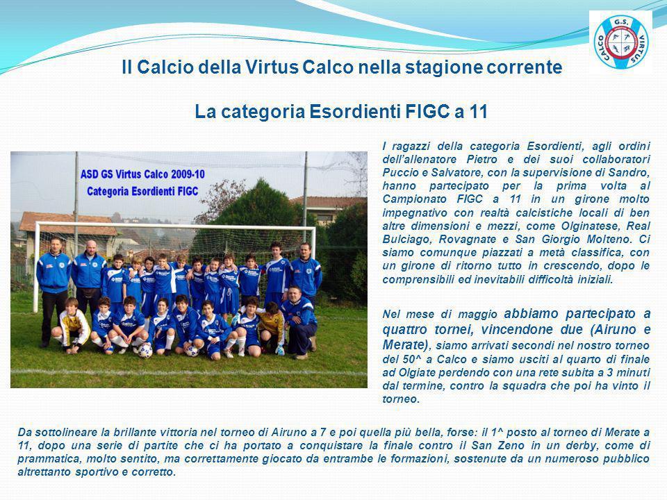 Il Calcio della Virtus Calco nella stagione corrente La categoria Esordienti FIGC a 11