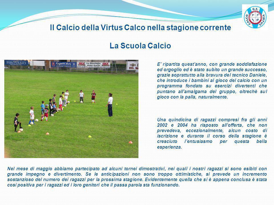 Il Calcio della Virtus Calco nella stagione corrente La Scuola Calcio