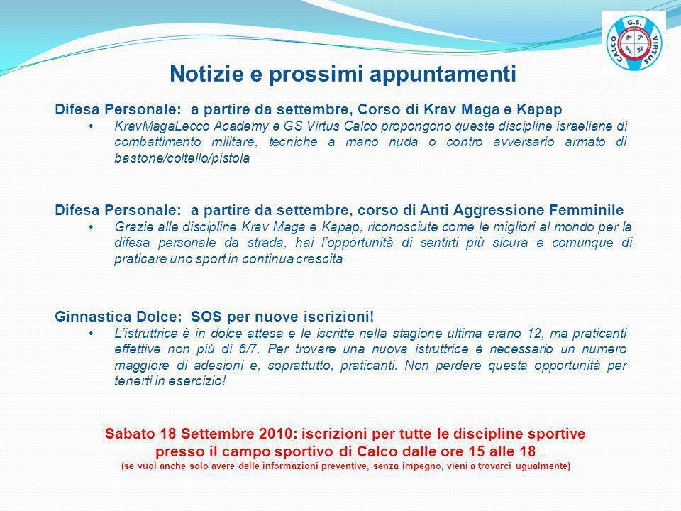 Notizie e prossimi appuntamenti
