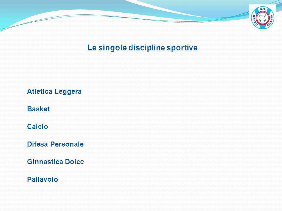 Le singole discipline sportive