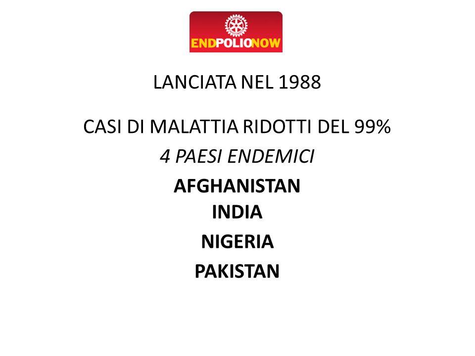 CASI DI MALATTIA RIDOTTI DEL 99%
