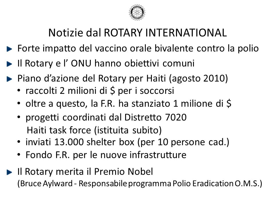 Notizie dal ROTARY INTERNATIONAL