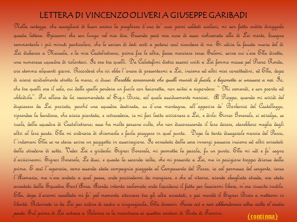 LETTERA DI VINCENZO OLIVERI A GIUSEPPE GARIBADI