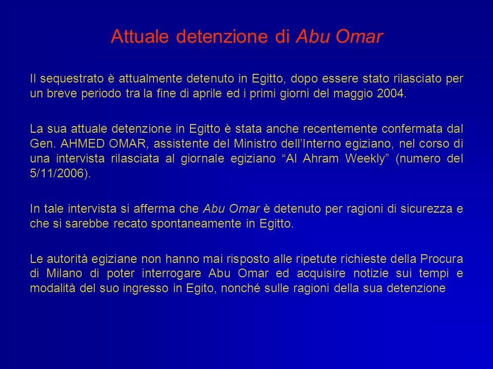 Attuale detenzione di Abu Omar