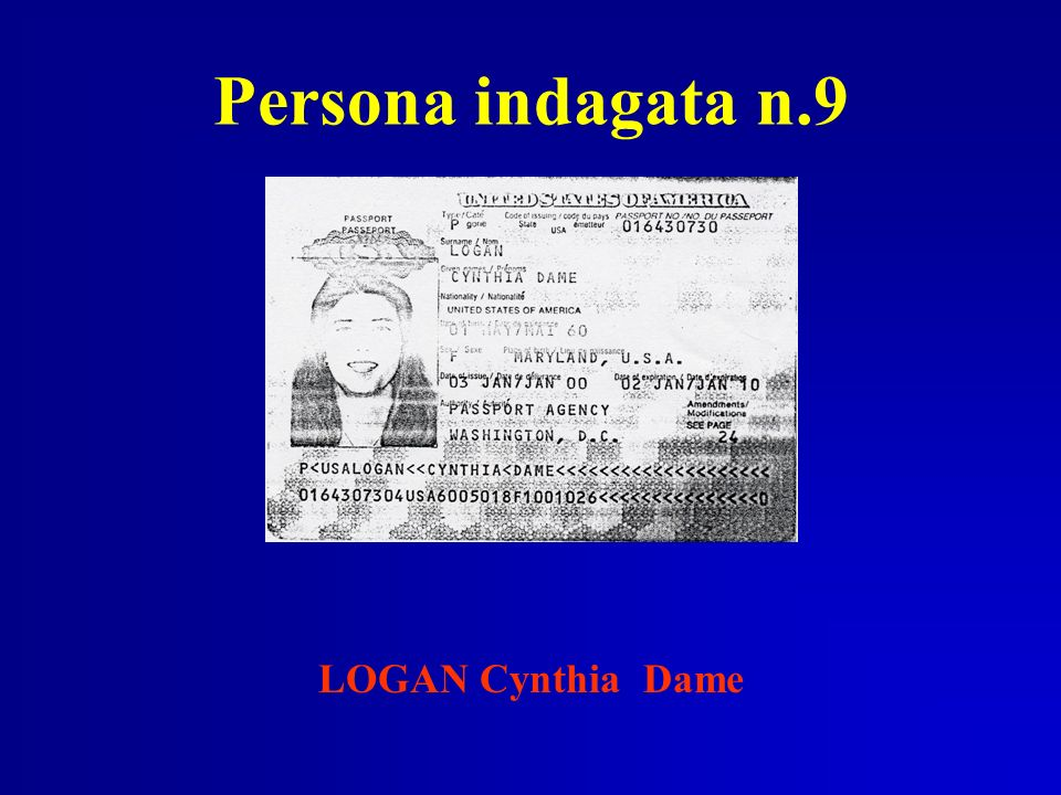 Persona indagata n.9 LOGAN Cynthia Dame