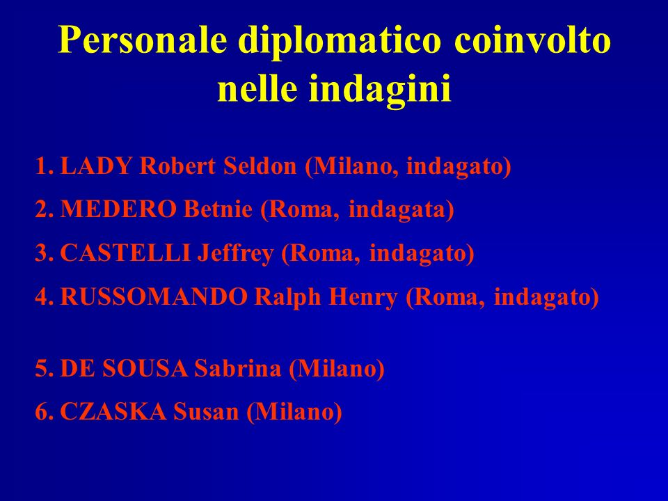 Personale diplomatico coinvolto nelle indagini