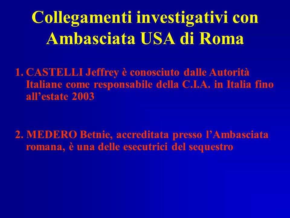 Collegamenti investigativi con Ambasciata USA di Roma