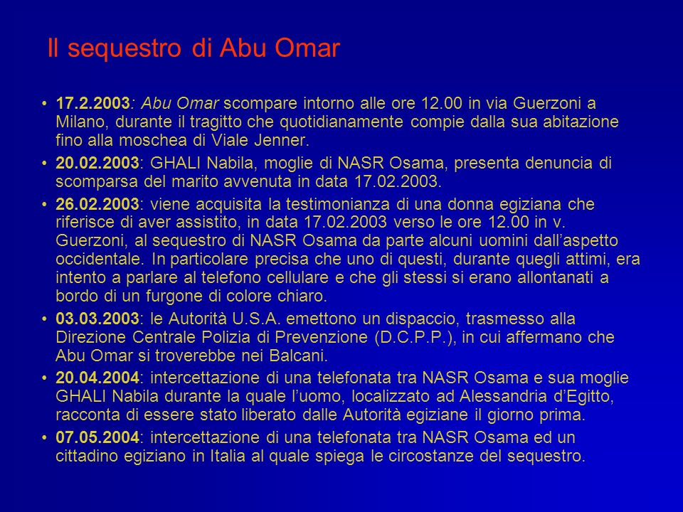 Il sequestro di Abu Omar