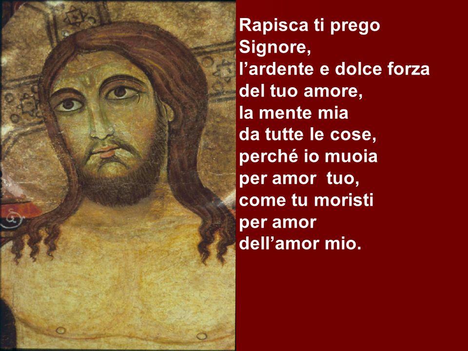 Rapisca ti prego Signore, l'ardente e dolce forza. del tuo amore, la mente mia. da tutte le cose,
