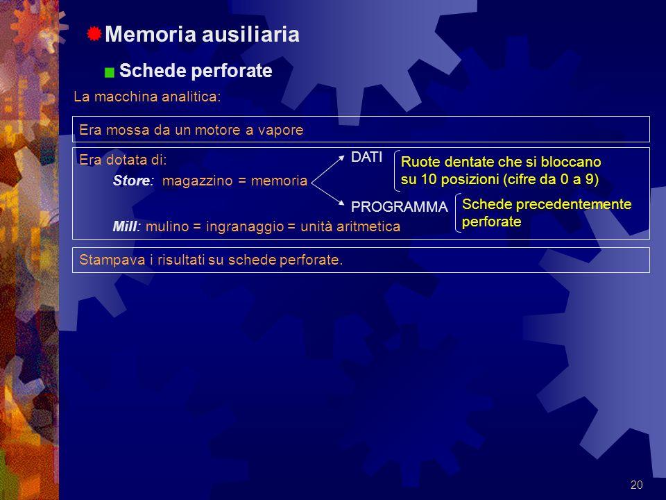 Memoria ausiliaria Schede perforate La macchina analitica: