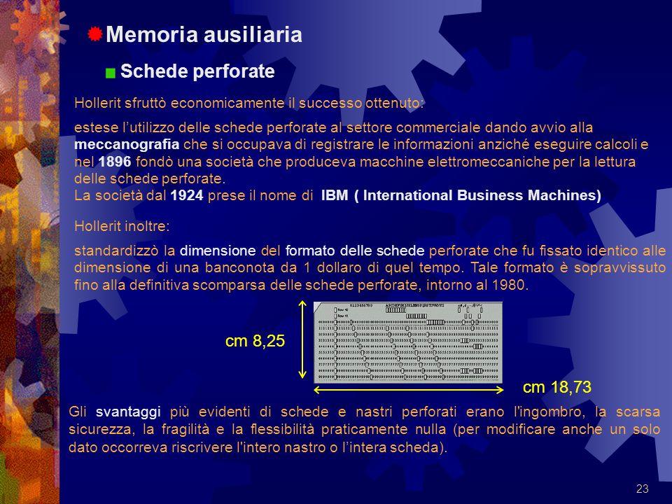 Memoria ausiliaria Schede perforate cm 8,25 cm 18,73