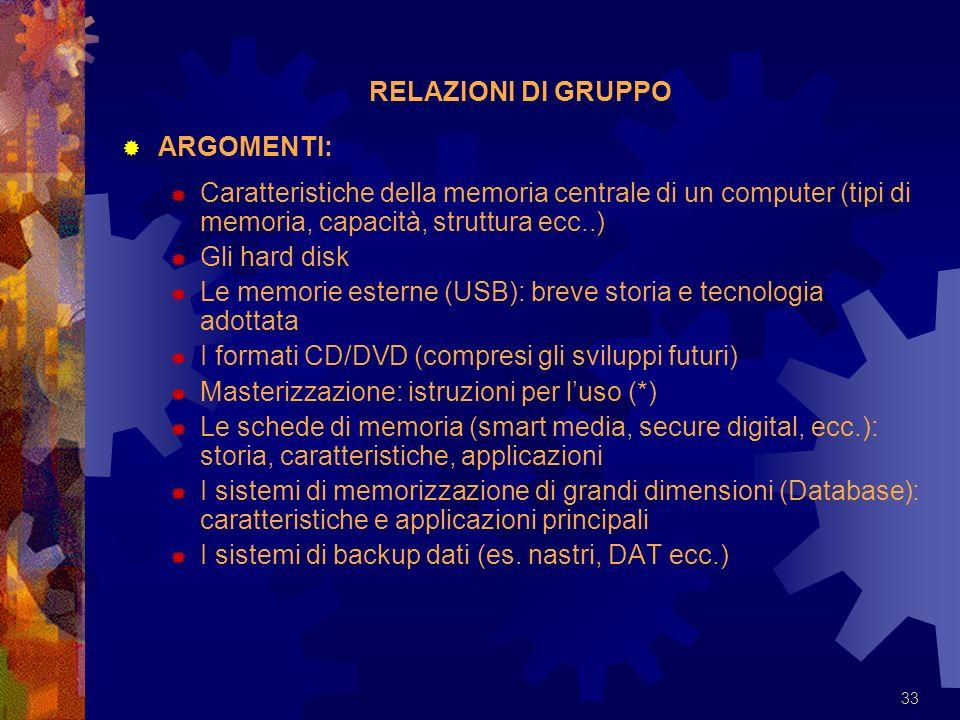RELAZIONI DI GRUPPO ARGOMENTI: Caratteristiche della memoria centrale di un computer (tipi di memoria, capacità, struttura ecc..)