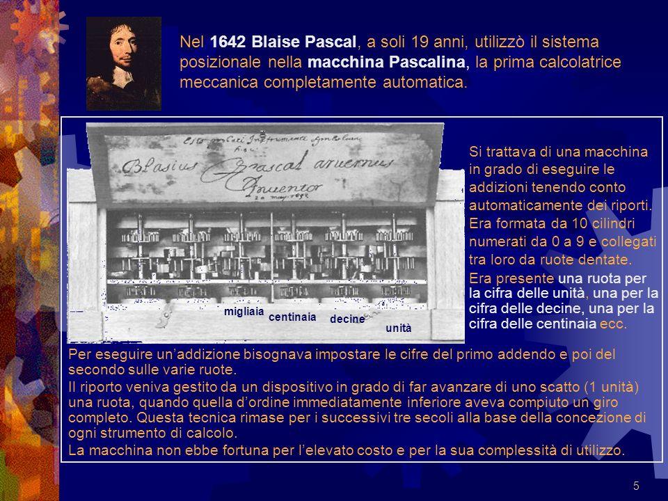 Nel 1642 Blaise Pascal, a soli 19 anni, utilizzò il sistema posizionale nella macchina Pascalina, la prima calcolatrice meccanica completamente automatica.