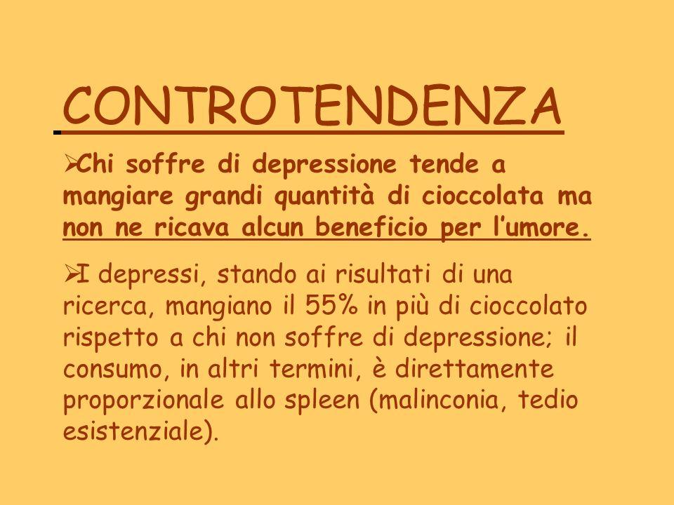 CONTROTENDENZA Chi soffre di depressione tende a mangiare grandi quantità di cioccolata ma non ne ricava alcun beneficio per l'umore.