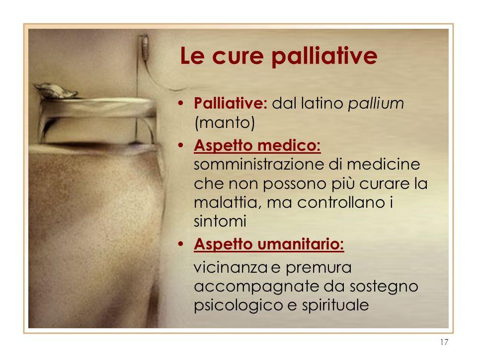 Le cure palliative Palliative: dal latino pallium (manto)