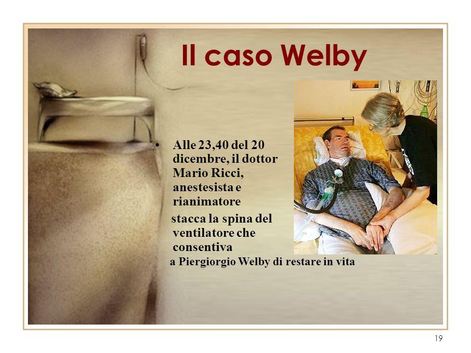 Il caso Welby Alle 23,40 del 20 dicembre, il dottor Mario Ricci, anestesista e rianimatore. stacca la spina del ventilatore che consentiva.