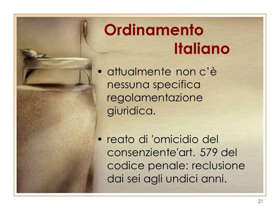 Ordinamento Italiano attualmente non c'è nessuna specifica regolamentazione giuridica.