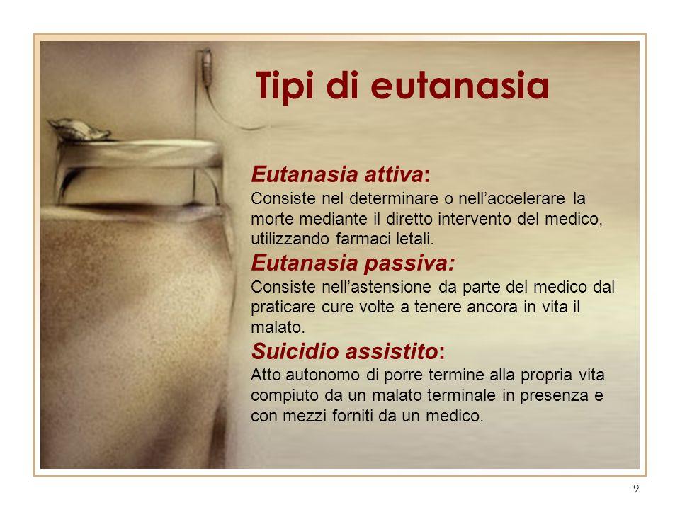 Tipi di eutanasia Eutanasia attiva: Eutanasia passiva: