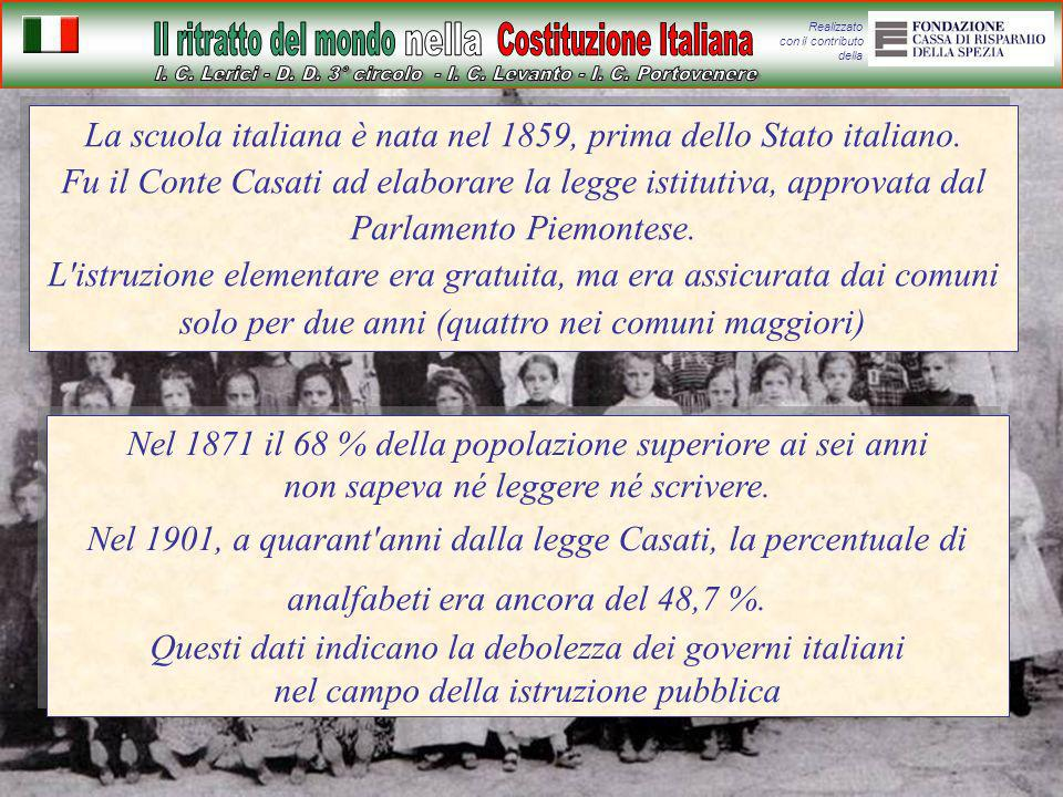 La scuola italiana è nata nel 1859, prima dello Stato italiano.