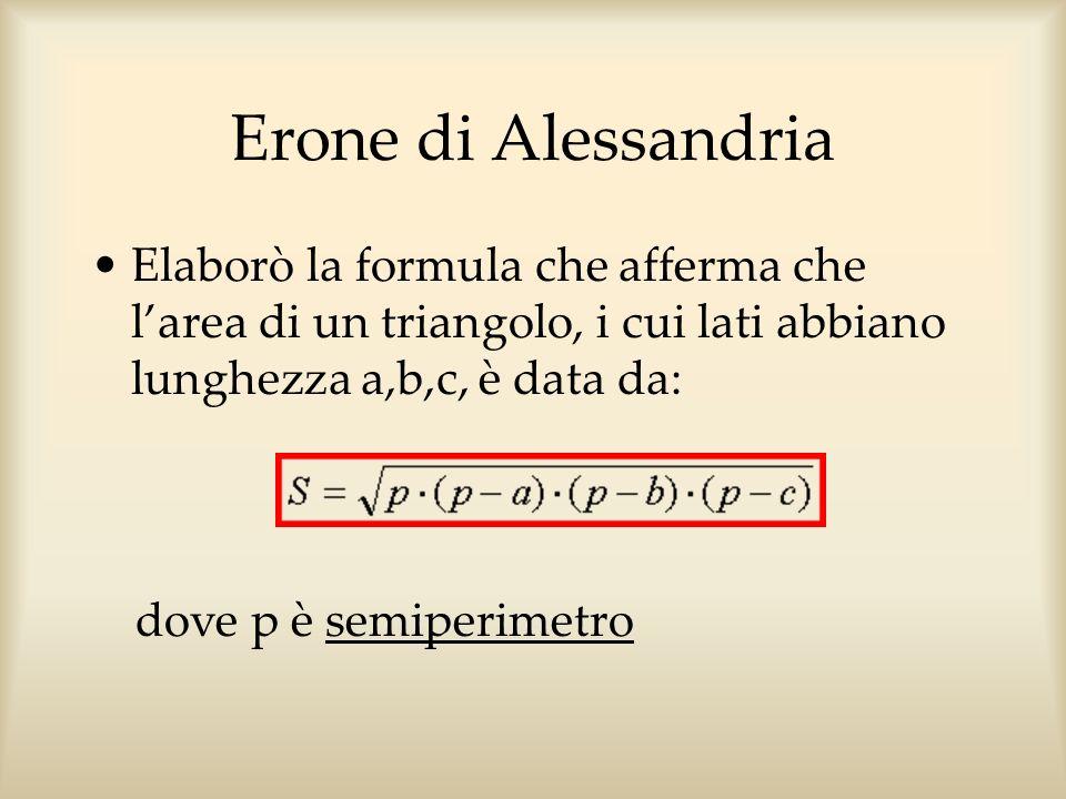 Erone di Alessandria Elaborò la formula che afferma che l'area di un triangolo, i cui lati abbiano lunghezza a,b,c, è data da: