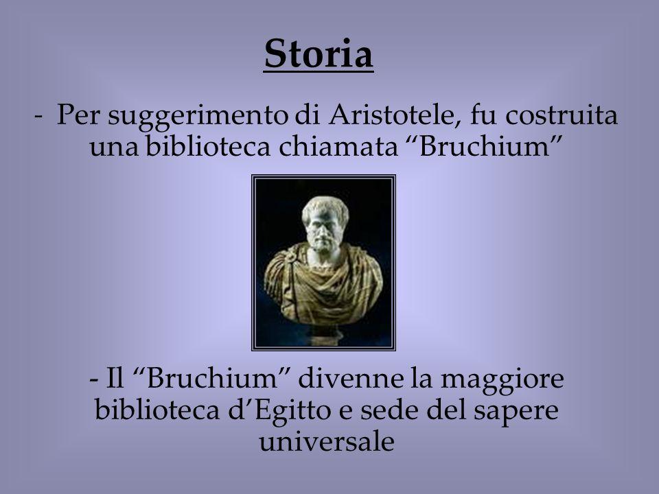 Storia Per suggerimento di Aristotele, fu costruita una biblioteca chiamata Bruchium