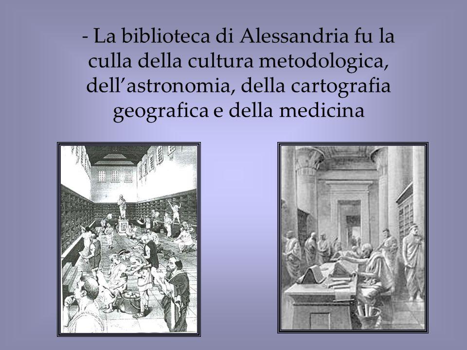 La biblioteca di Alessandria fu la culla della cultura metodologica, dell'astronomia, della cartografia geografica e della medicina