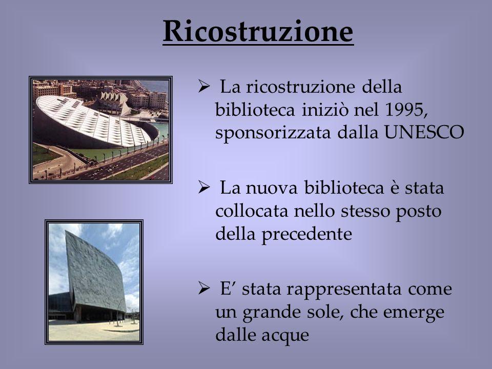 Ricostruzione La ricostruzione della biblioteca iniziò nel 1995, sponsorizzata dalla UNESCO.
