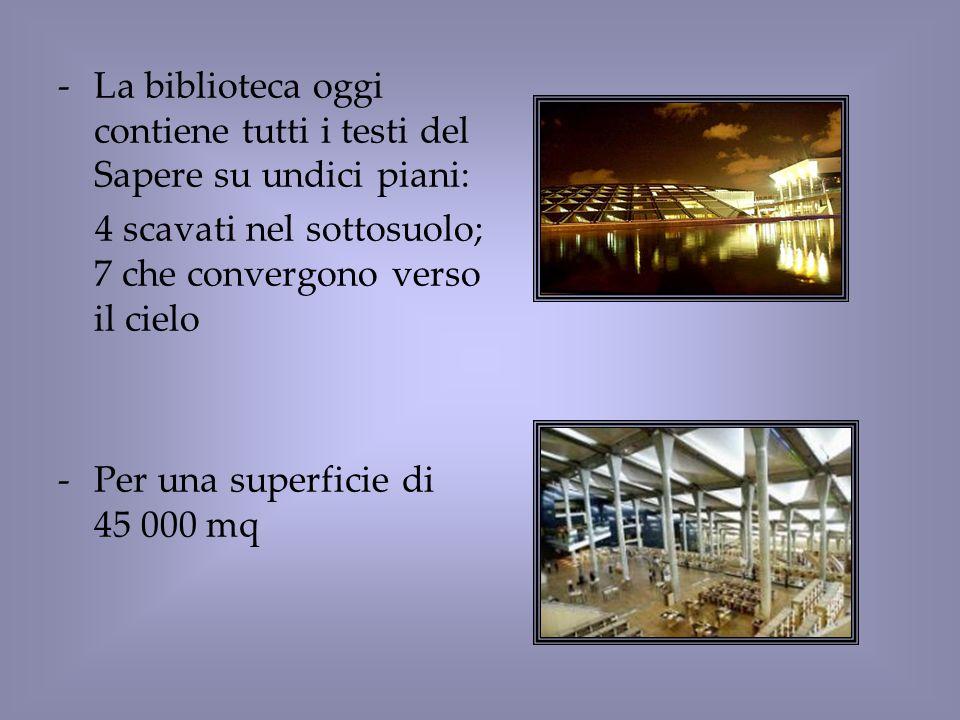 La biblioteca oggi contiene tutti i testi del Sapere su undici piani: