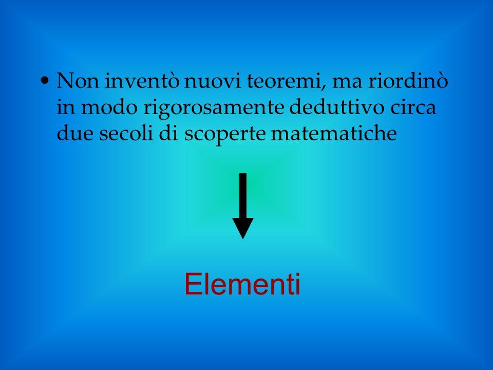 Non inventò nuovi teoremi, ma riordinò in modo rigorosamente deduttivo circa due secoli di scoperte matematiche