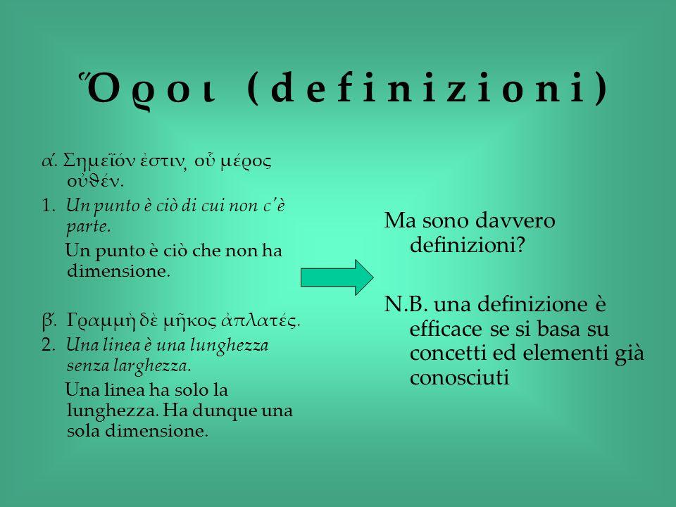 Ὅ ρ ο ι ( d e f i n i z i o n i ) Ma sono davvero definizioni