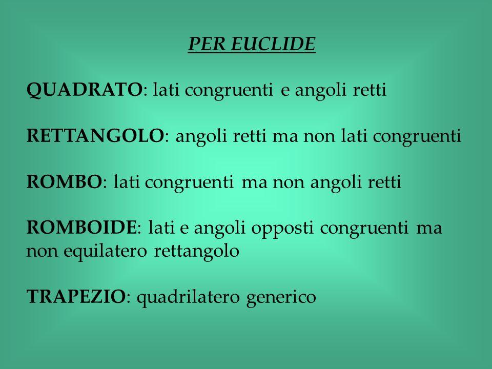 PER EUCLIDE QUADRATO: lati congruenti e angoli retti. RETTANGOLO: angoli retti ma non lati congruenti.